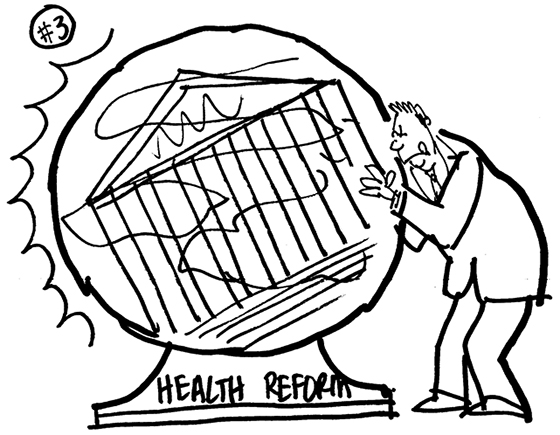 rough sketch for Healthcare Finance News illustration about Supreme Court deciding whether new healthcare law is constitutional and showing man trying to see into cloudy crystal ball