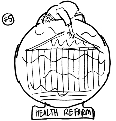 rough sketch for Healthcare Finance News illustration about Supreme Court deciding whether new healthcare law is constitutional and showing guy kneeling on top of cloudy crystal ball trying to see inside it