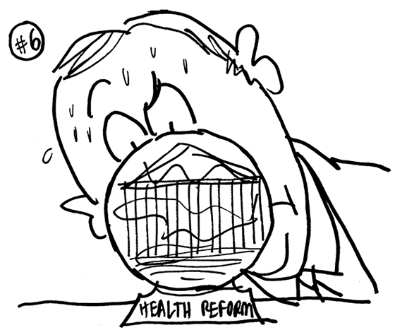 rough sketch for Healthcare Finance News illustration about Supreme Court deciding whether new healthcare law is constitutional and showing nervous man's big face behind cloudy crystal ball as he tries to peer inside it
