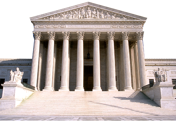 apply Photoshop Photocopy filter to photo of United States Supreme Court Building