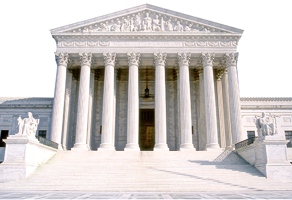 use Photoshop layer blending mode Overlay on photo of United States Supreme Court Building