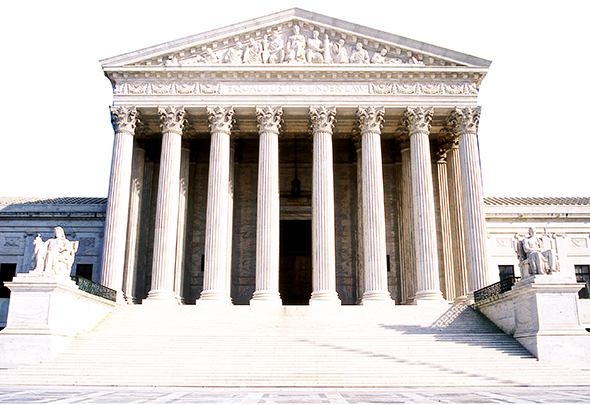 duplicate layer and use blending mode Overlay on photo of United States Supreme Court Building