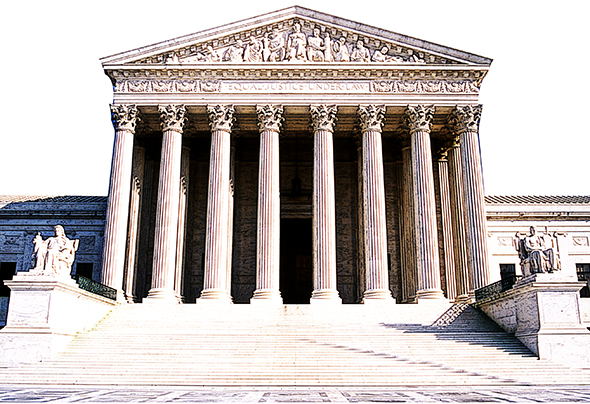 duplicate background image and apply Photoshop Poster Edges filter to photo of Supreme Court Building