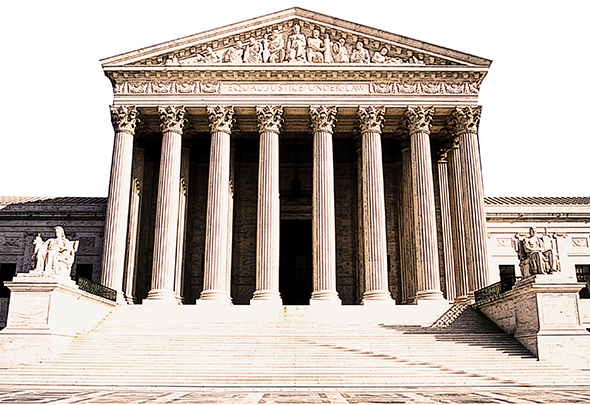 use Fill command and layer blending mode Overlay to darken part of photo of Supreme Court Building