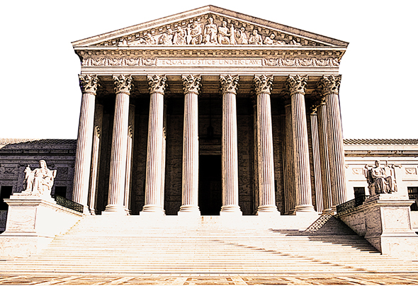 use gradient tool and Overlay mode to add dark brown grounding area to from of Supreme Court Building photo