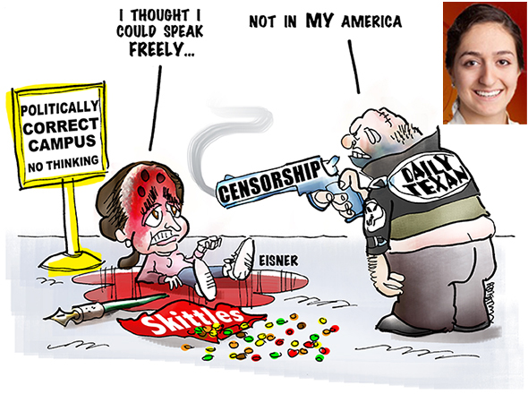 editorial cartoon in defense of University of Texas student newspaper editorial cartoonist Stephanie Eisner who was fired from The Daily Texan after doing a cartoon about the Trayvon Martin shooting plus inset photo of Stephanie Eisner