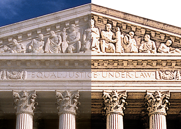 detail compare showing portion of Supreme Court Building after using Photoshop to convert photo to an illustration