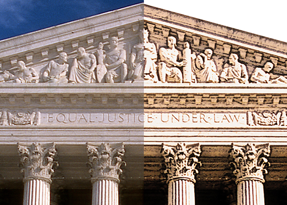 detail compare showing portion of Supreme Court Building after using Photoshop to convert photo to an illustration and then adding slight Gaussian Blur