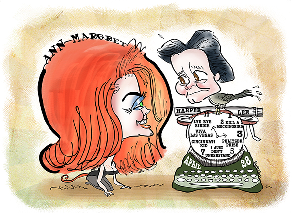 Actress singer dancer Ann Margret sex kitten caricature with To Kill A Mockingbird author Harper Lee as bird on top of old manual typewriter with built-in birthday clock