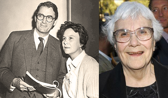 photo of author Harper Lee with actor Gregory Peck during making of film version of novel To Kill A Mockingbird, and photo of Harper Lee taken in 2005