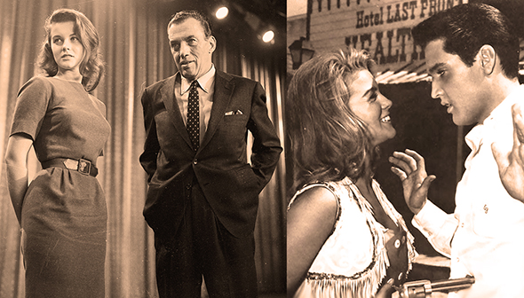 photo of very young Ann Margret with TV host Ed Sullivan, and dressed as cowgirl with Elvis Presley on set of movie Viva Las Vegas