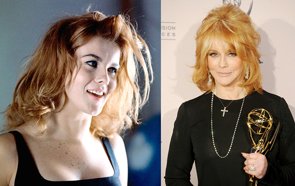photo of young Ann Margret at dance rehearsal circa mid-1960s, and photo of Ann Margret in 2010 after winning her first Emmy award