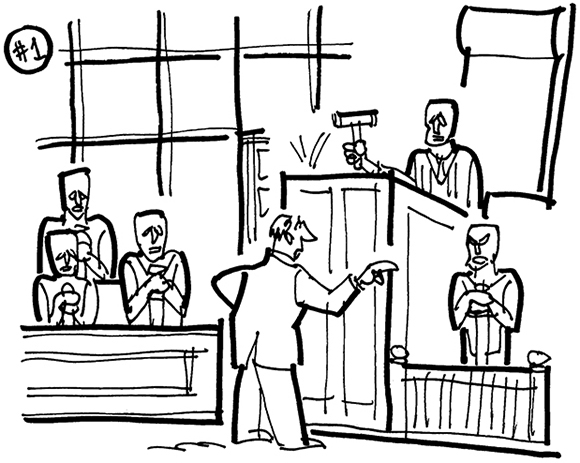 rough sketch for a courtroom cartoon about the Academy of Motion Pictures suing a rental company for copyright infringement because it rents 8-foot-tall gold statues that look like the famous Oscar statuette