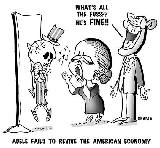 political cartoon showing singer Adele singing and trying to revive a skeleton wearing an Uncle Sam top hat and representing American Economy, President Obama is saying why all the fuss, he's fine