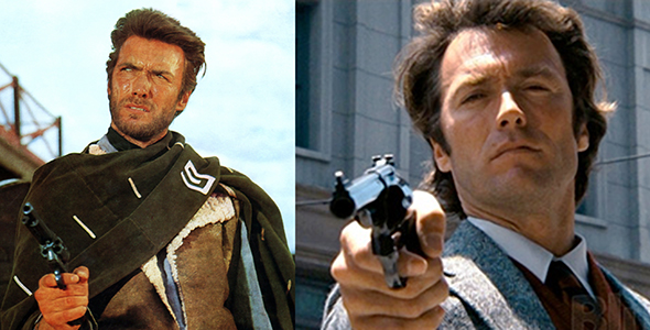 photos of actor Clint Eastwood in his movie roles of the nameless bounty hunter in Fistful of Dollars and other Sergio Leone westerns, and as the tough San Francisco detective and police inspector Lieutenant Dirty Harry Callahan who was famous for saying Do you feel lucky? and Make my day