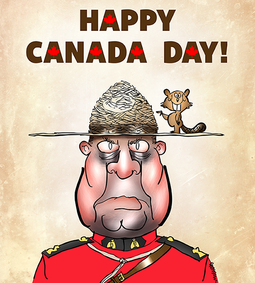 Happy Canada Day poster with Canadian Royal Mounted Police guy with beaver standing on hat brim pointing to hat crown which looks like beaver dam