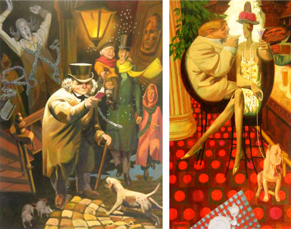 two experimental, highly stylized paintings by illustrator Shannon Stirnweis, distorting shapes and perspective, going for surreal look, exaggeration, odd lighting effects, one showing Ebenezer Scrooge and scenes and vignettes from Charles Dickens' A Christmas Carol, the other called Doggie Bar showing couple and a dog in bar with deliberately warped perspective and three-dimensional space