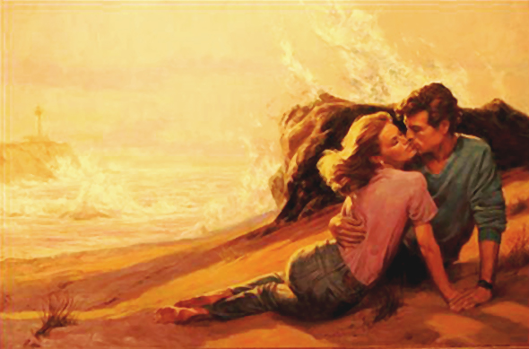 Shannon Stirnweis's first Harlequin romance paperback book cover, showing a man and woman embracing on a sandy beach, with ocean waves breaking in the background