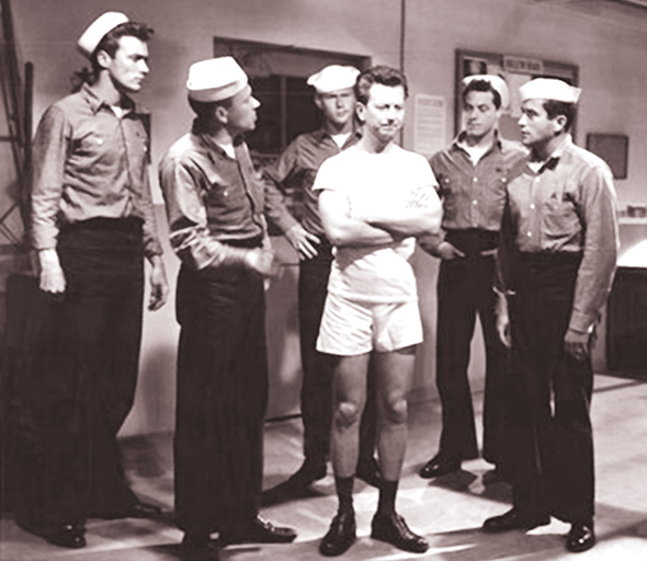 film still from the 1955 movie Francis In The Navy, one of a series about a talking mule, Clint Eastwood had his first credited role in the film, which also starred Donald O'Connor, Martin Milner, and David Janssen