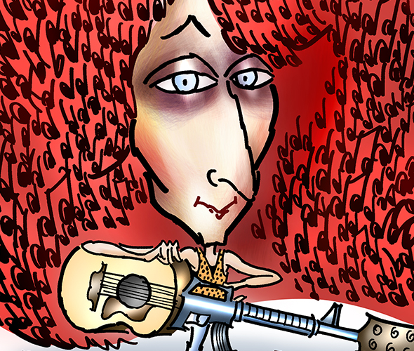 detail image of caricature of folksinger and guitarist Patty Larkin with musical notes caught in her big red hair and carrying a guitar that looks like a machine gun or automatic weapon