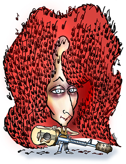 caricature of folksinger and guitarist Patty Larkin with musical notes caught in her big red hair and carrying a guitar that looks like a machine gun or automatic weapon
