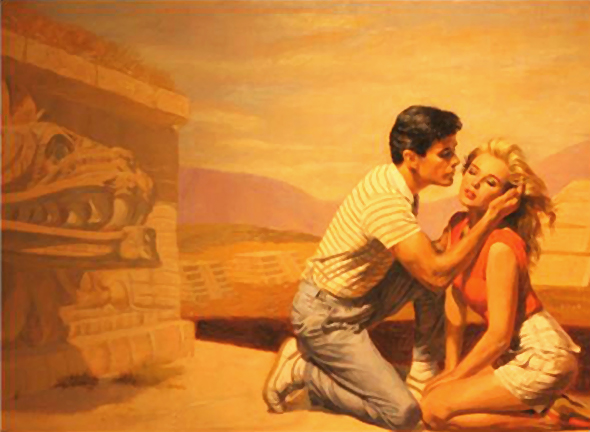 Romance paperback book cover by illustrator Shannon Stirnweis, showing a man and woman kneeling in a near-embrace next to some ancient Mayan ruins suggesting an archeological theme