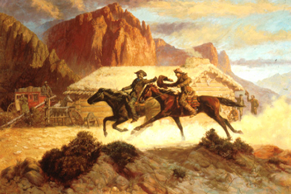Paperback book cover for a western by illustrator Shannon Stirnweis, showing a handoff between two Pony Express riders with a log cabin station office and corral and majestic mountain range and western sky in backgroung