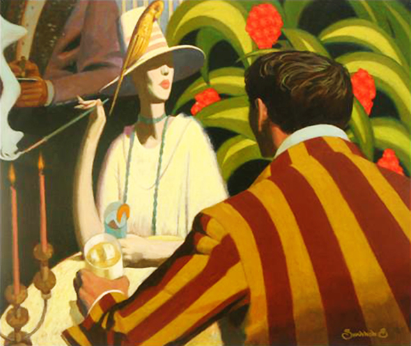experimental, highly stylized painting by illustrator Shannon Stirnweis, distorting shapes and perspective, going for surreal look, exaggeration, showing couple at table in posh restaurant