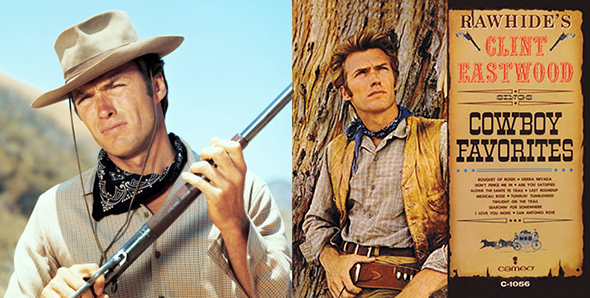 photo of actor Clint Eastwood in his role of Rowdy Yates, a wrangler and cowboy on the old television western series, Rawhide; also record album cover for the album of cowboy songs that Eastwood recorded during time he was starring in Rawhide