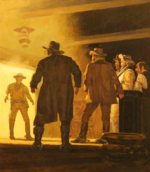 art for western paperback book cover by illustrator Shannon Stirnweis, showing gunslinger who's just entering swinging doors to saloon and is confronting several cowboy outlaw bad guys who are about to draw their guns