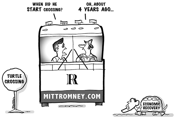 "political editorial cartoon about the United States presidential campaign, showing Mitt Romney on his bus tour stopped at a Turtle Crossing sign with President Obama as a turtle crossing the road with words ""Economic Recovery"" written on his shell"