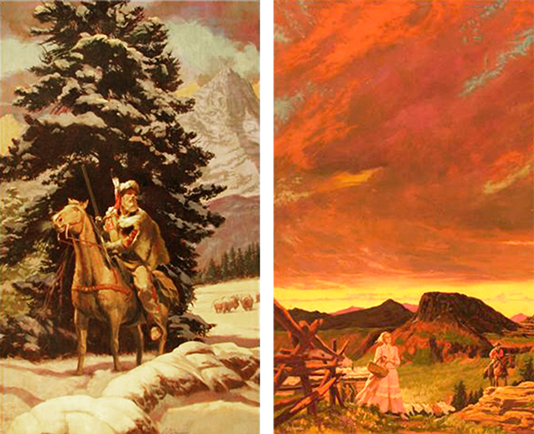 two illustrations by Shannon Stirnweis for western paperback books, one showing a snow winter scene with a mountain man fur trapper on his horse with a rifle, the other a cabin and corral and a homesteader couple with mountains and brooding red western sky in background