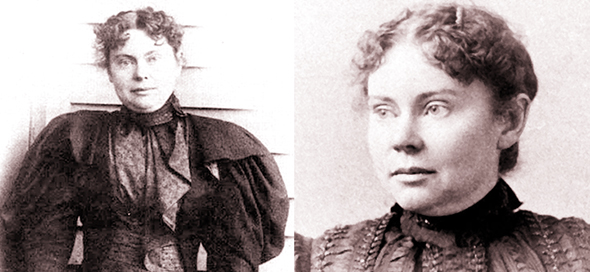 two photographs of Lizzie Borden suspected of killing her parents with an ax in Fall River, Massachusetts, on August 4, 1892