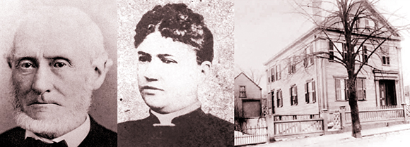 photos of Lizzie Borden's parents, her father Andrew Borden and her stepmother Abby Borden and photo of Borden House at 92 Second Street in year 1892