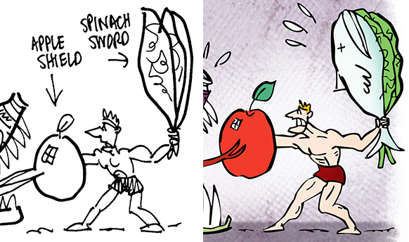 comparison of rough sketch showing gladiator with spinach leaf sword and revision showing a fish added to the spinach leaves because editor wanted to include fish as a symbol of good healthy food