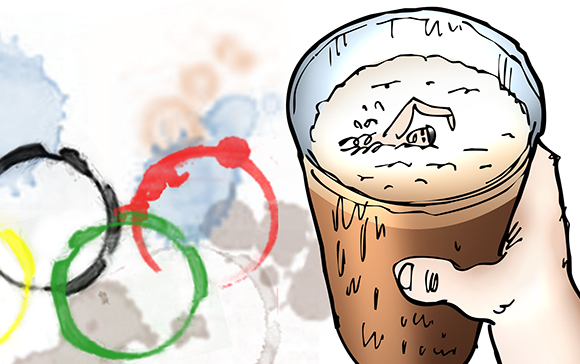 detail image from humorous illustration for 2012 Olympic Games, showing the 5 interlocking colored Olympic rings as moisture stain rings made by glass of dark Guinness style beer which has a little Olympic swimmer swimming in the beer foam and a Union Jack flag coaster