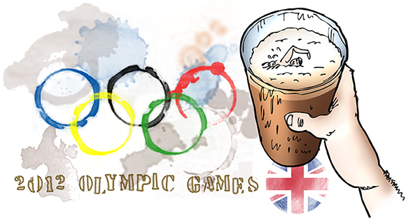 humorous illustration for 2012 Olympic Games, showing the 5 interlocking colored Olympic rings as moisture stain rings made by glass of dark Guinness style beer which has a little Olympic swimmer swimming in the beer foam and a Union Jack flag coaster