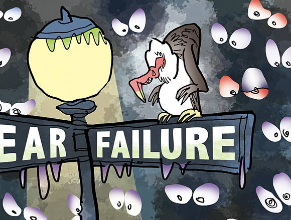 detail image of humorous illustration for The Partner Channel Magazine showing a frightened man standing on the corner of Fear & Failure by a lamppost at night with a vulture staring down at him and he's being watched by spooky eyes in the night and he's paralyzed with fear of making a mistake