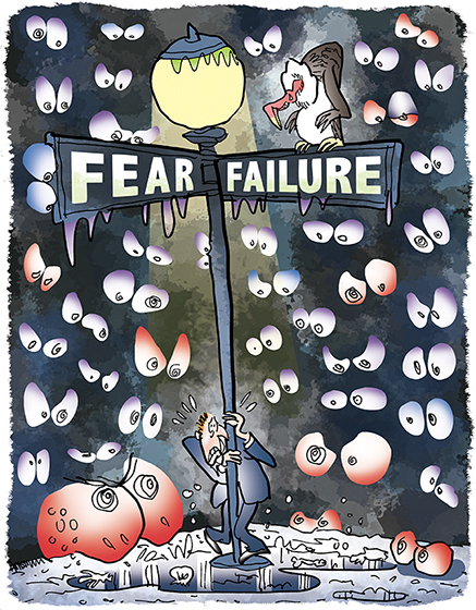 humorous illustration for The Partner Channel Magazine showing a frightened man standing on the corner of Fear & Failure by a lamppost at night with a vulture staring down at him and he's being watched by spooky eyes in the night and he's paralyzed with fear of making a mistake