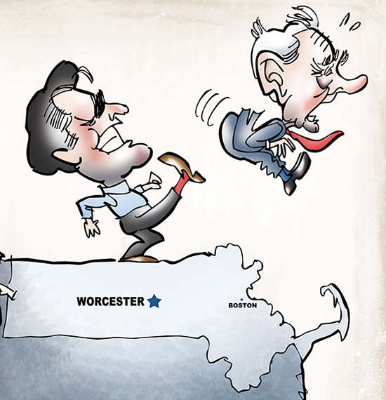 detail image from cover illustration for Worcester Magazine alternative newsweekly showing United States presidential candidate Mitt Romney kicking Ron Paul off the back of an elephant with map of Massachusetts and suitcase referencing delegates going to Republican National Convention in Tampa, Florida