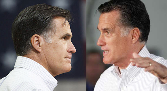 two photos of Republican presidential candidate and presumed nominee Mitt Romney showing side profiles of his face
