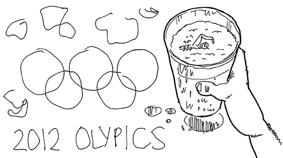 original black and white sketch for humorous illustration for 2012 Olympic Games, showing the 5 interlocking colored Olympic rings as moisture stain rings made by glass of dark Guinness style beer which has a little Olympic swimmer swimming in the beer foam and a Union Jack flag coaster