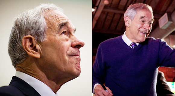 two photos of Republican and Libertarian presidential candidate Ron Paul including side profile of his face
