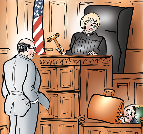 detail image from humorous illustration for Massachusetts Lawyers Weekly showing courtroom with prosecuting lawyer standing in front of female judge's bench and lawyer and judge are both looking at second lawyer who's under investigation and is hunched down in the witness box, embarrassed about having to testify and trying to hide behind his big lawyer's briefcase