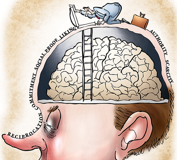 detail image of humorous illustration for Partner Channel magazine about salesmanship and making sales and marketing skills and six essential traits needed for getting inside customer's head, showing salesman with briefcase opening trapdoor on man's head and about to descend ladder down into man's cranium to access his brain