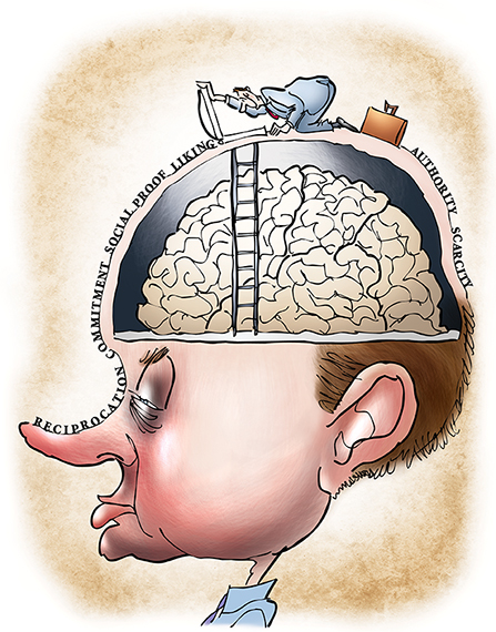 humorous illustration for Partner Channel magazine about salesmanship and making sales and marketing skills and six essential traits needed for getting inside customer's head, showing salesman with briefcase opening trapdoor on man's head and about to descend ladder down into man's cranium to access his brain