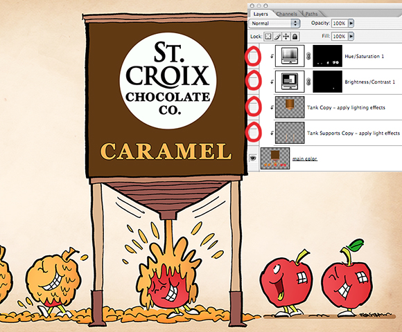 humorous illustration for St. Croix Chocolate Company showing apples walking under big tank of caramel sauce, getting squirted and becoming happy caramel apples, with Photoshop Layers window with adjustment layers turned off showing how much darker and more drab illustration would look like without adjustments