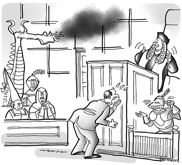 cartoon illustration for legal publication Inside Counsel Magazine for their Strange Suits feature case involving rival dinner theater restaurants with medieval knight theme shows, courtroom scene with lawyer yelling at knight in suit of armor, judge in long Brutish-style wig, jury composed of knights, fair maiden, and dragon billowing smoke
