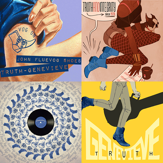four finalist designs for Fluevog Shoes poster advertisement contest for a shoe called Truth Genevieve