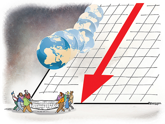 illustration for OECD Journal for article about tax administration with goal of attracting investment and providing a social safety net for the economically disadvantaged